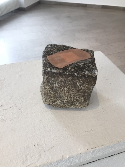 Daniel Djamo, 'Urgo plaster for wounded pavement rock', 2016, installation view, Past Futures, Likovni Salon Celje